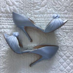 Badgley Mischka satin open toe heels